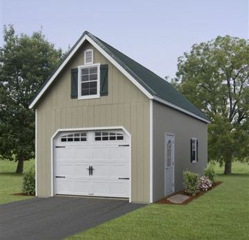 2 story single car garage amish garages built on site for Two story two car garage plans