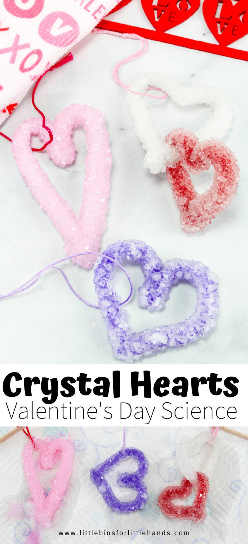 Crystal Hearts Valentines Science Experiment #scienceexperimentsforpreschoolers