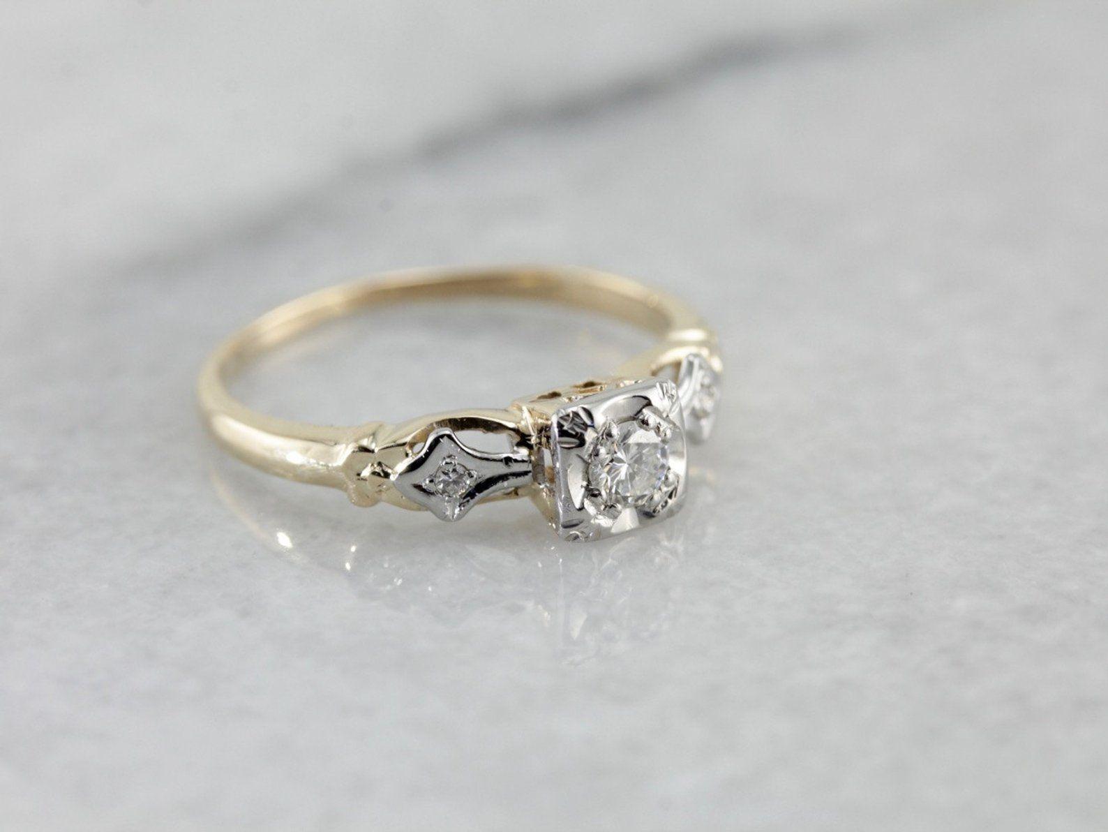 c5d0e0df08f Vintage Diamond Retro Era Engagement Ring 9FCA9L-P | Amanda ...