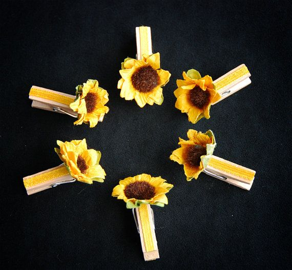 Place card holders, Scrapbooking, Gift Decoration - Sunflower MilenaWeddings, €5.00 on Etsy