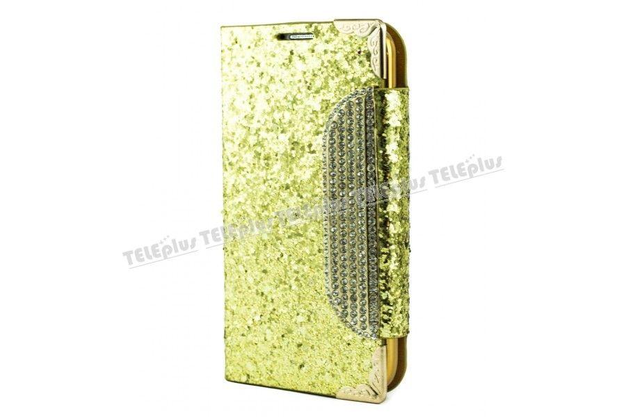Samsung Galaxy S4 Taşlı Kılıf Pullu Cüzdanlı Altın Renk -  - Price : TL29.90. Buy now at http://www.teleplus.com.tr/index.php/samsung-galaxy-s4-tasli-kilif-pullu-cuzdanli-altin-renk.html