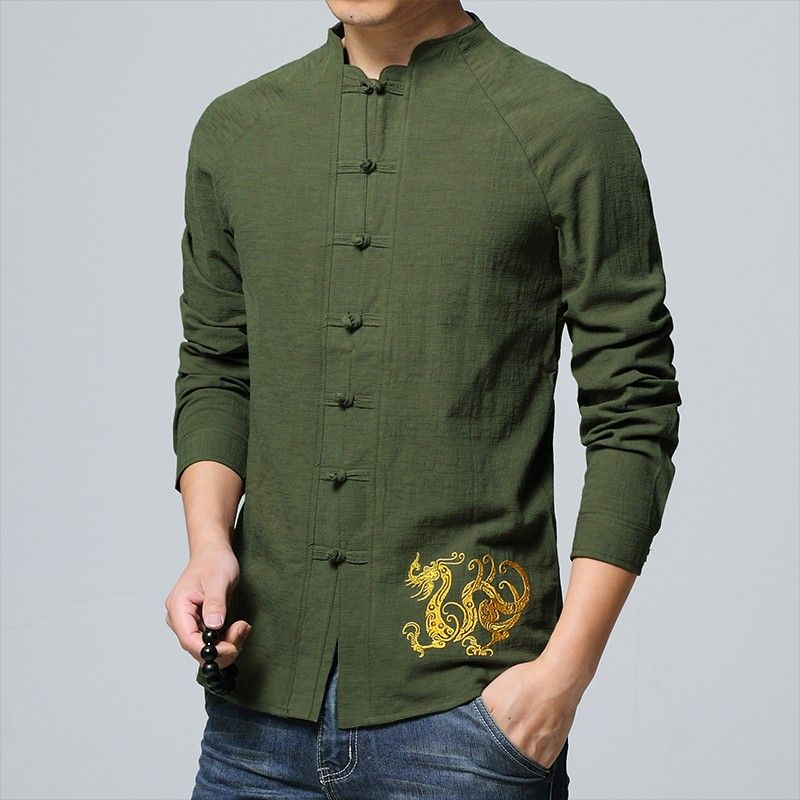 c58902be3 Delightful Golden Dragon Embroidery Chinese Shirt - Green - Chinese Shirts  & Blouses - Men