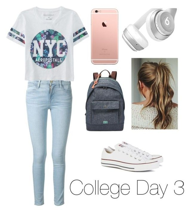 """""""College Day 3"""" by fashion-coma ❤ liked on Polyvore featuring мода, Frame Denim, Aéropostale, Converse, FOSSIL, Beats by Dr. Dre, women's clothing, women, female и woman"""