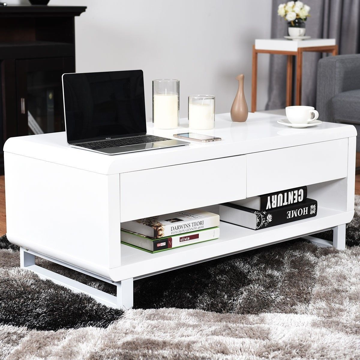 Bluetooth Speakers Drawer Led Light Modern Coffee Table Modern Coffee Tables Contemporary Coffee Table Coffee Table [ 1200 x 1200 Pixel ]
