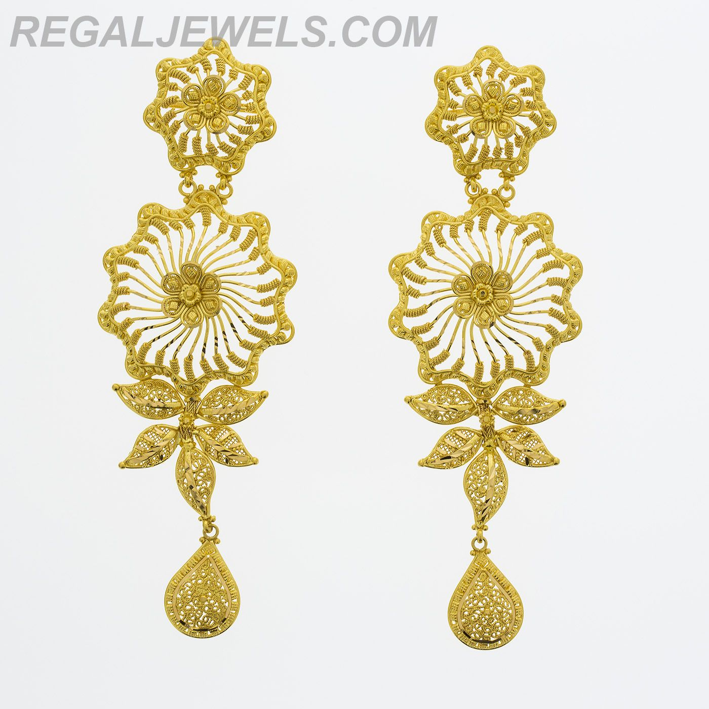 Regal Jewels Online - 22KT Gold Filigree Floral Design Earring ...