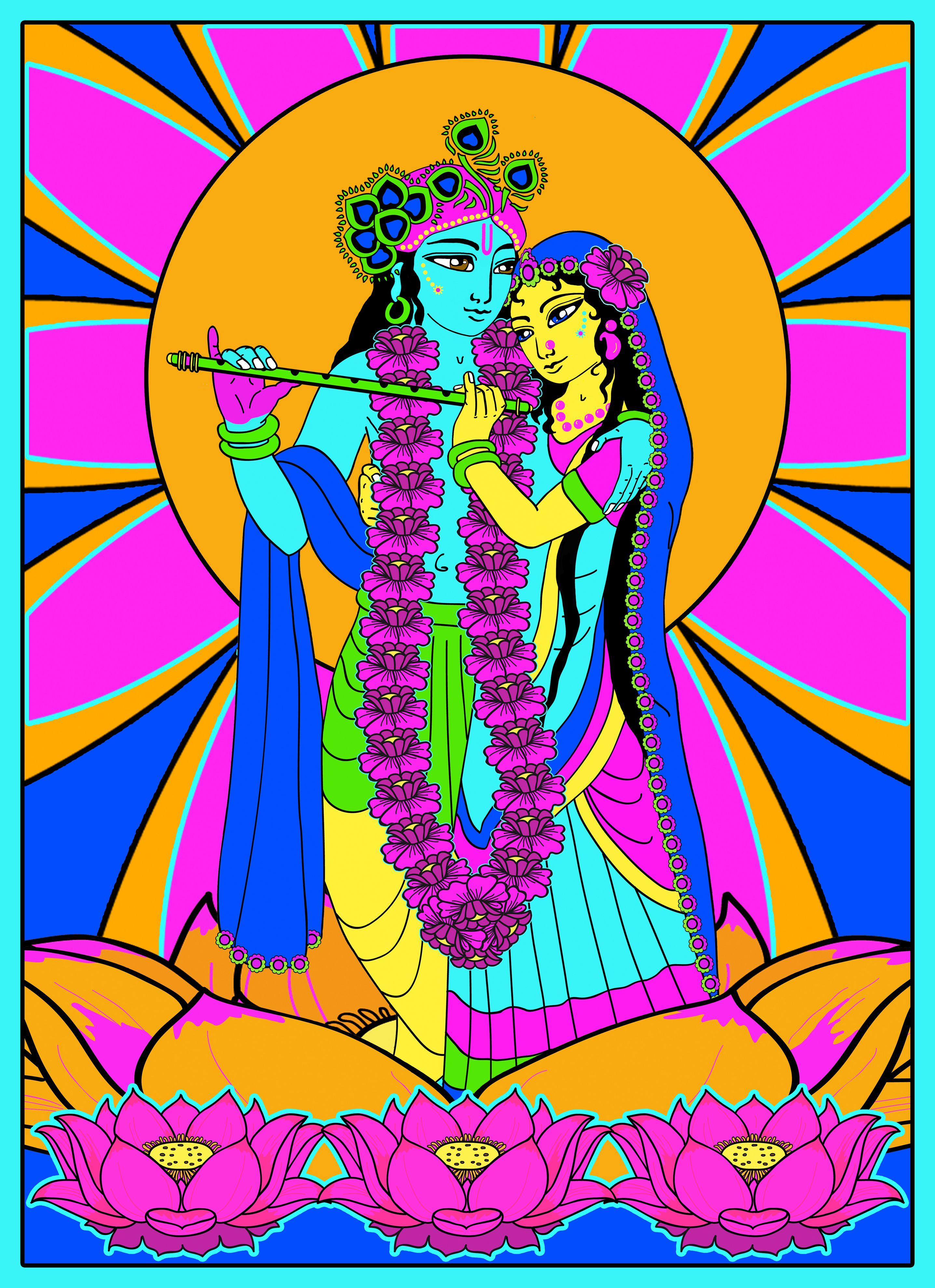 Radha Krishna On A Lotus Flower Candy Colours Shri Radha Krishna