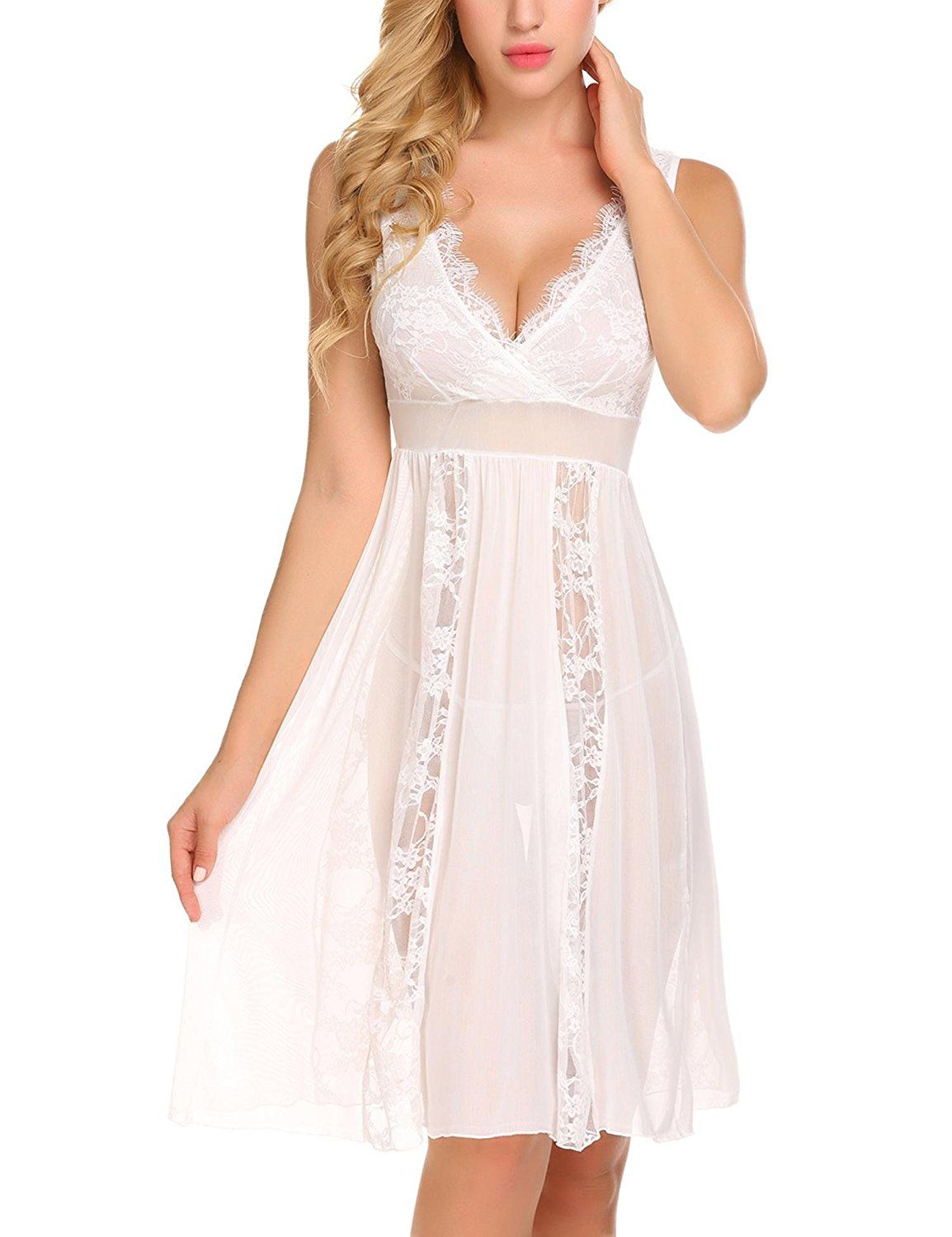 Avidlove Womens Sexy Long Lace Lingerie Nightdress Sheer Nightgown Chemise White At Amazon Womens Clothing Store