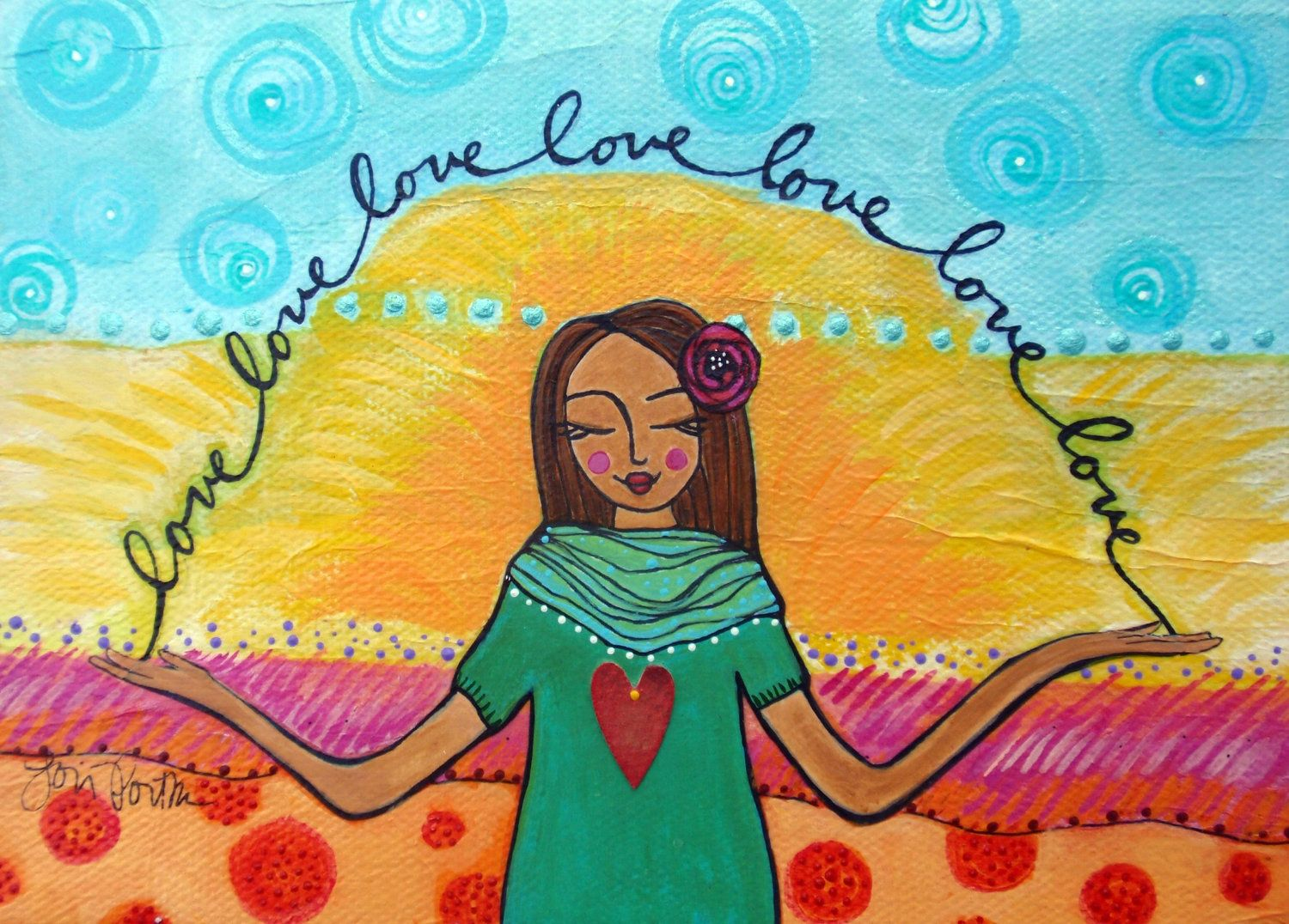 This print hangs in my studio as a daily reminder to choose love :: by Lori Portka