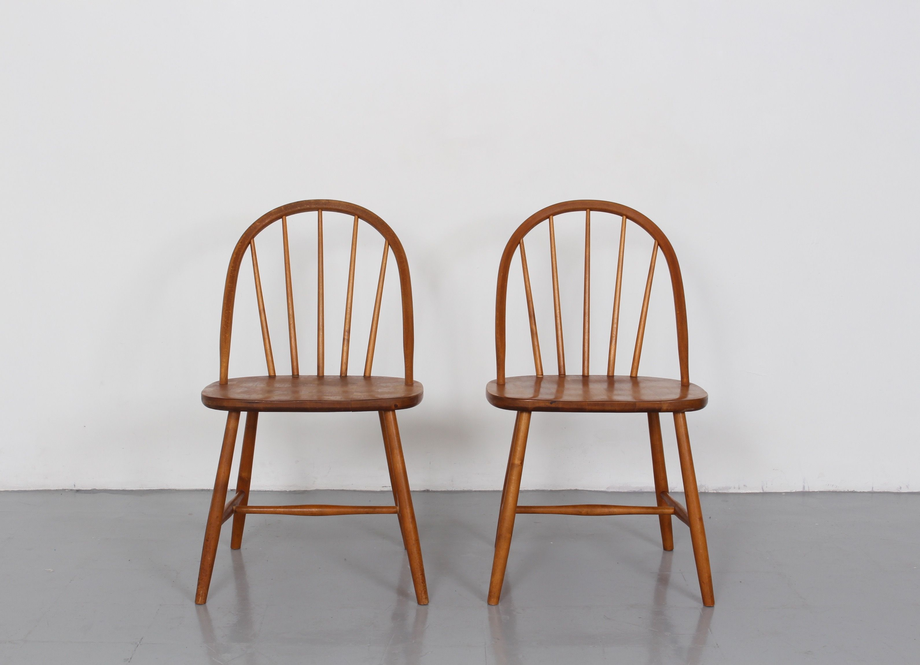 Pair Of Beech Spindle Back Chairs In The Manner Of Ercol