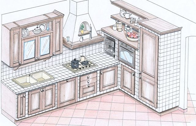 progetto cucina in muratura 3d  Cerca con Google  Decor