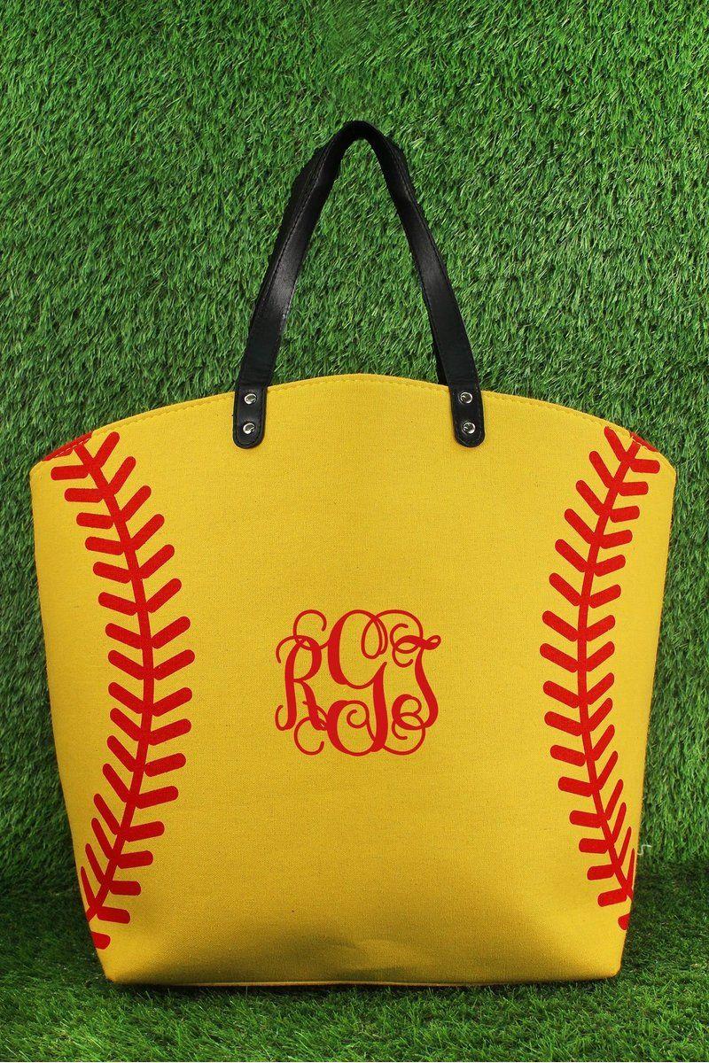 Monogrammed Softball Tote Bag