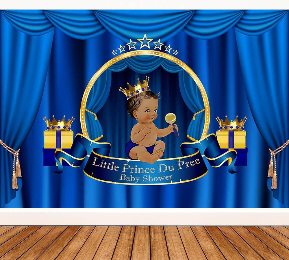 Royal Prince Baby Shower Backdrop Blue Curtain Birthday Backdrop