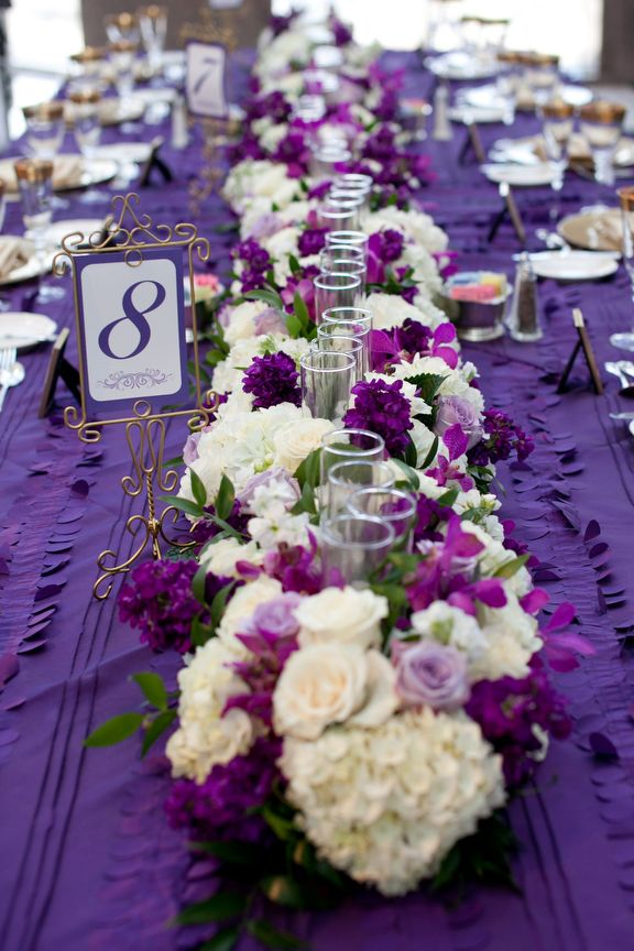 15 Purple Green White Centerpieces Sky Lobby Wedding Purple