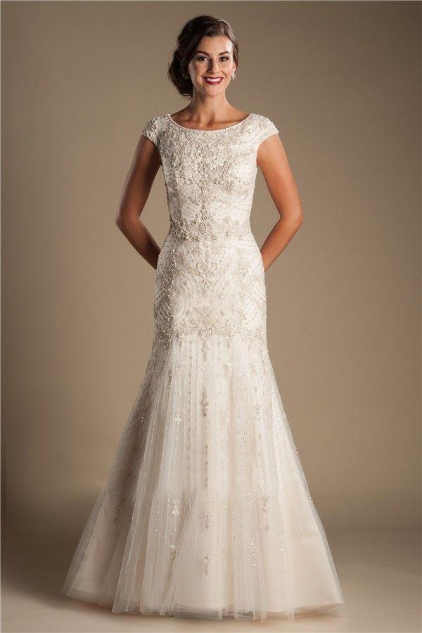 Modest Mermaid Boat Neck Cap Sleeve Tulle Embroidery Beaded Wedding Dress Wedding Dresses Modest Wedding Dresses Stylish Wedding Dresses