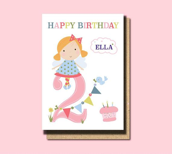 2nd Birthday Card Niece Granddaughter Daughter Personalised Girl