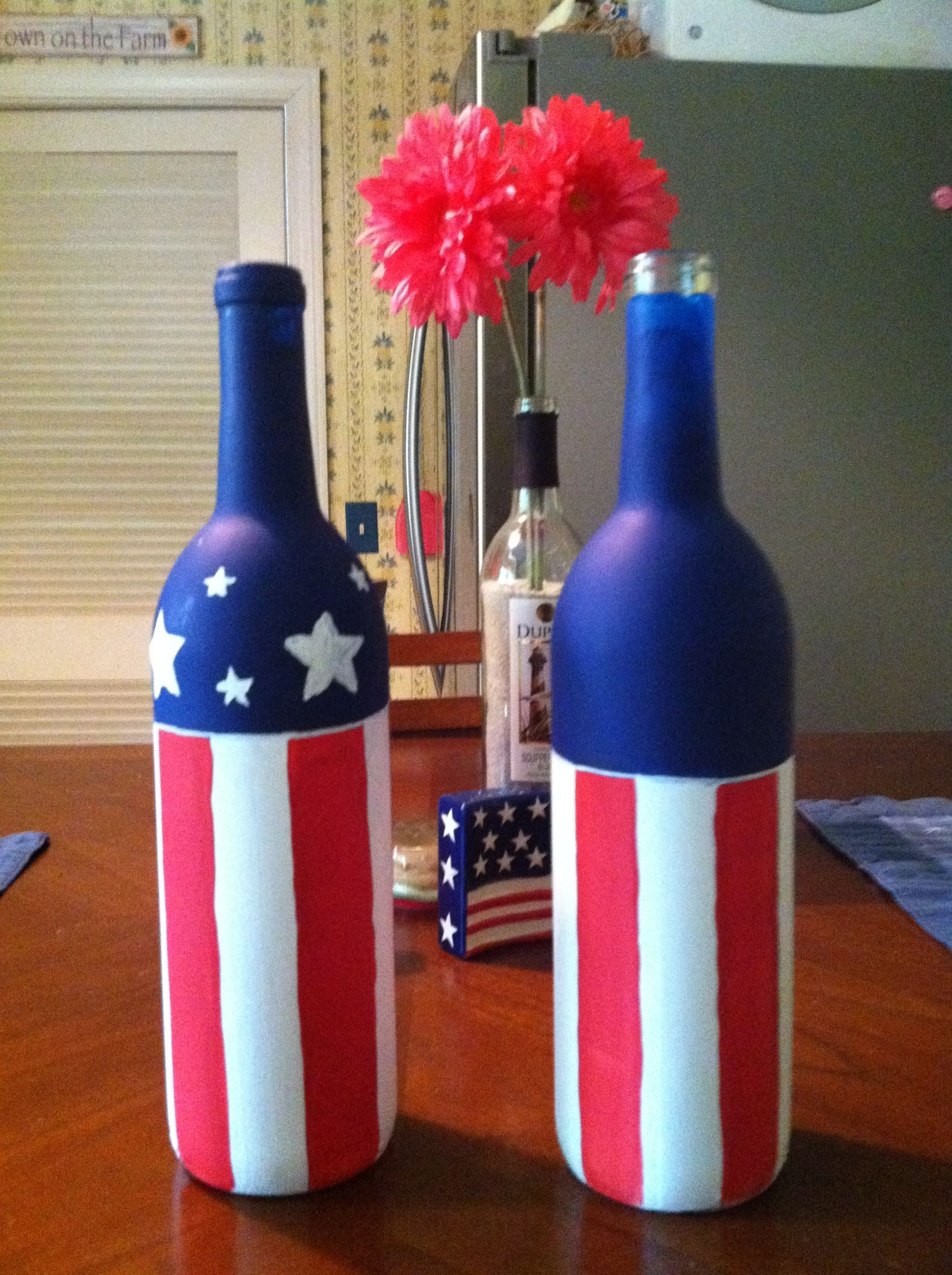 4th Of July Painted Bottled Wine Bottle Crafts Bottles Decoration Bottle Crafts