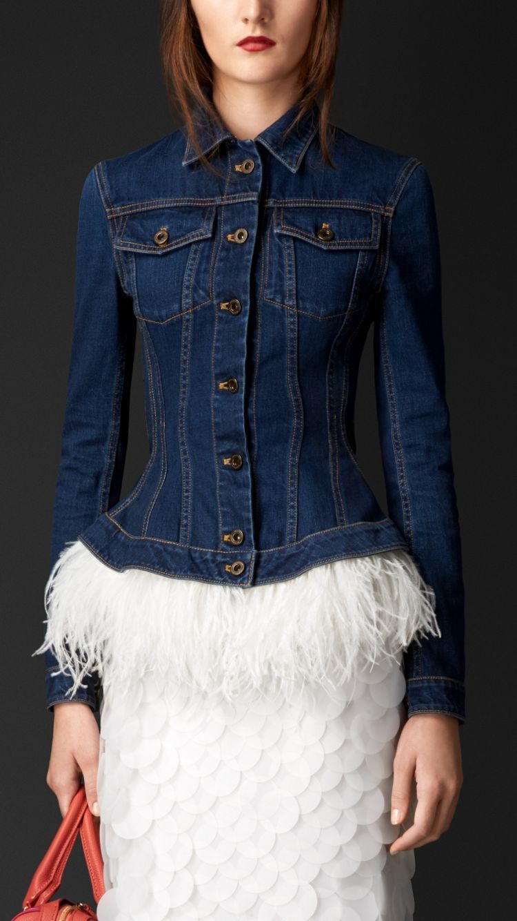 Wasp Waist Denim Jacket with Ostrich Feathers Jackets