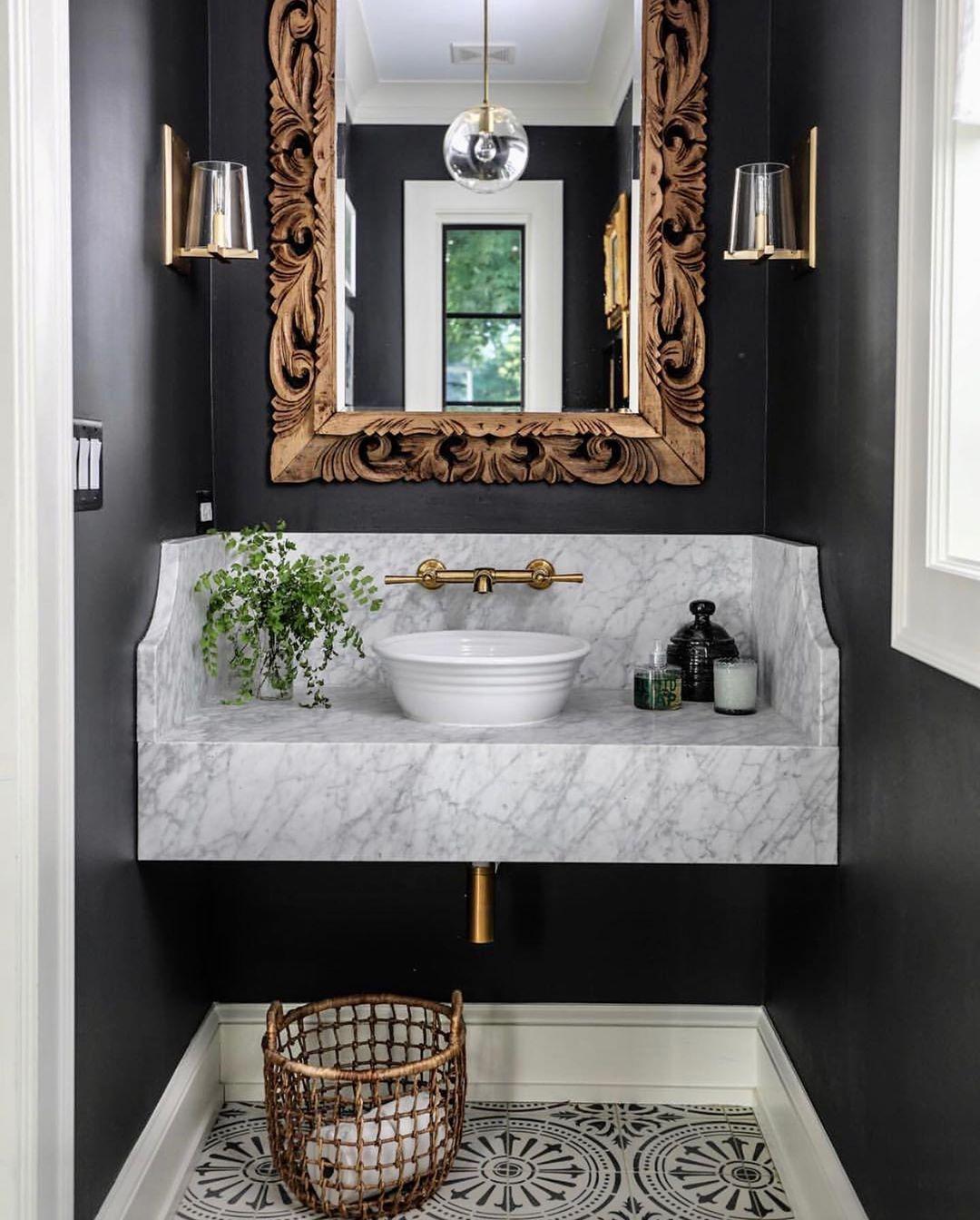 Peppertree Living On Instagram What S Your Favorite Detail Parkandoakdesign Bathroomdesign Bath In 2020 Modern Powder Rooms Powder Room Design Bathroom Trends