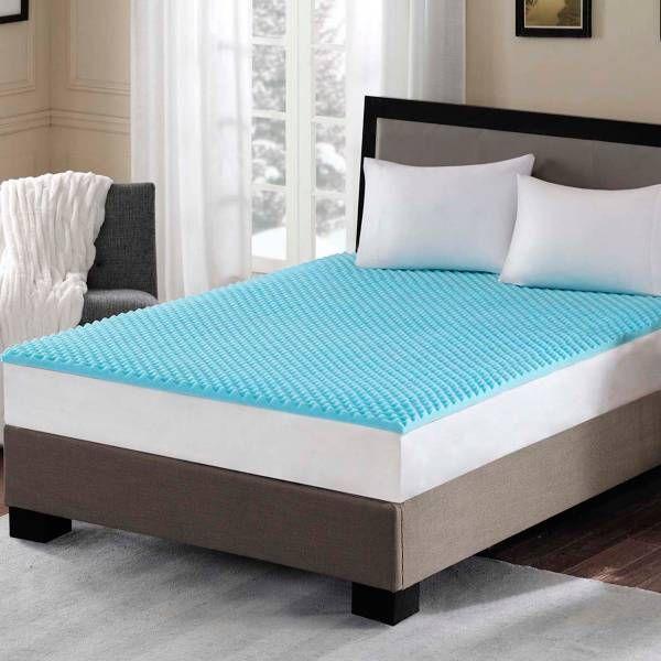 Sleep Philosophy Flexapedic 1 5 Inch Gel Memory Foam Mattress Topper In Blue Memory Foam Topper Foam Mattress Topper Gel Memory Foam