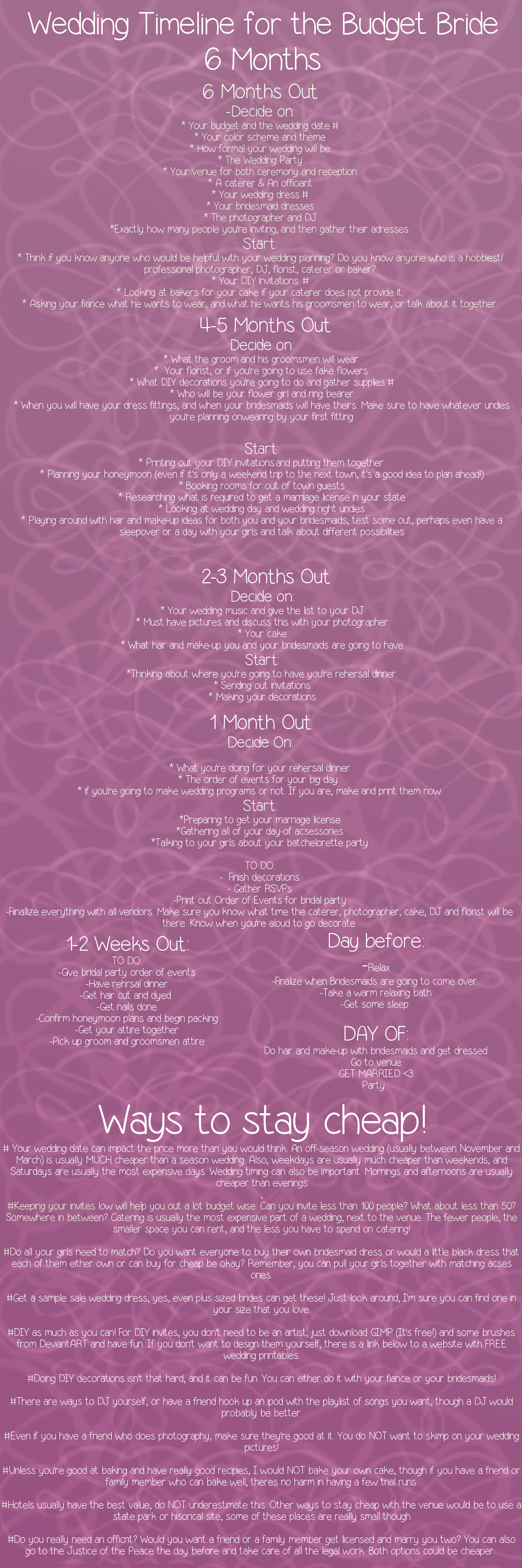 6 month wedding timeline for the budget bride wedding timeline 6