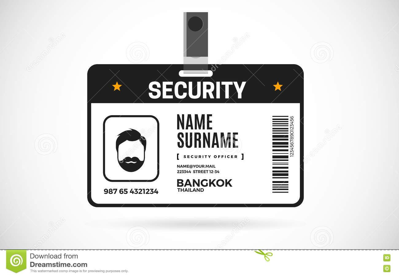 Security Id Card Set Vector Design Illustration Stock Vector With Photographer Id Card Template C Id Card Template Card Template Free Business Card Templates