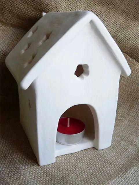Casetta uccellini portacandela in terracotta bianca Birdhouse