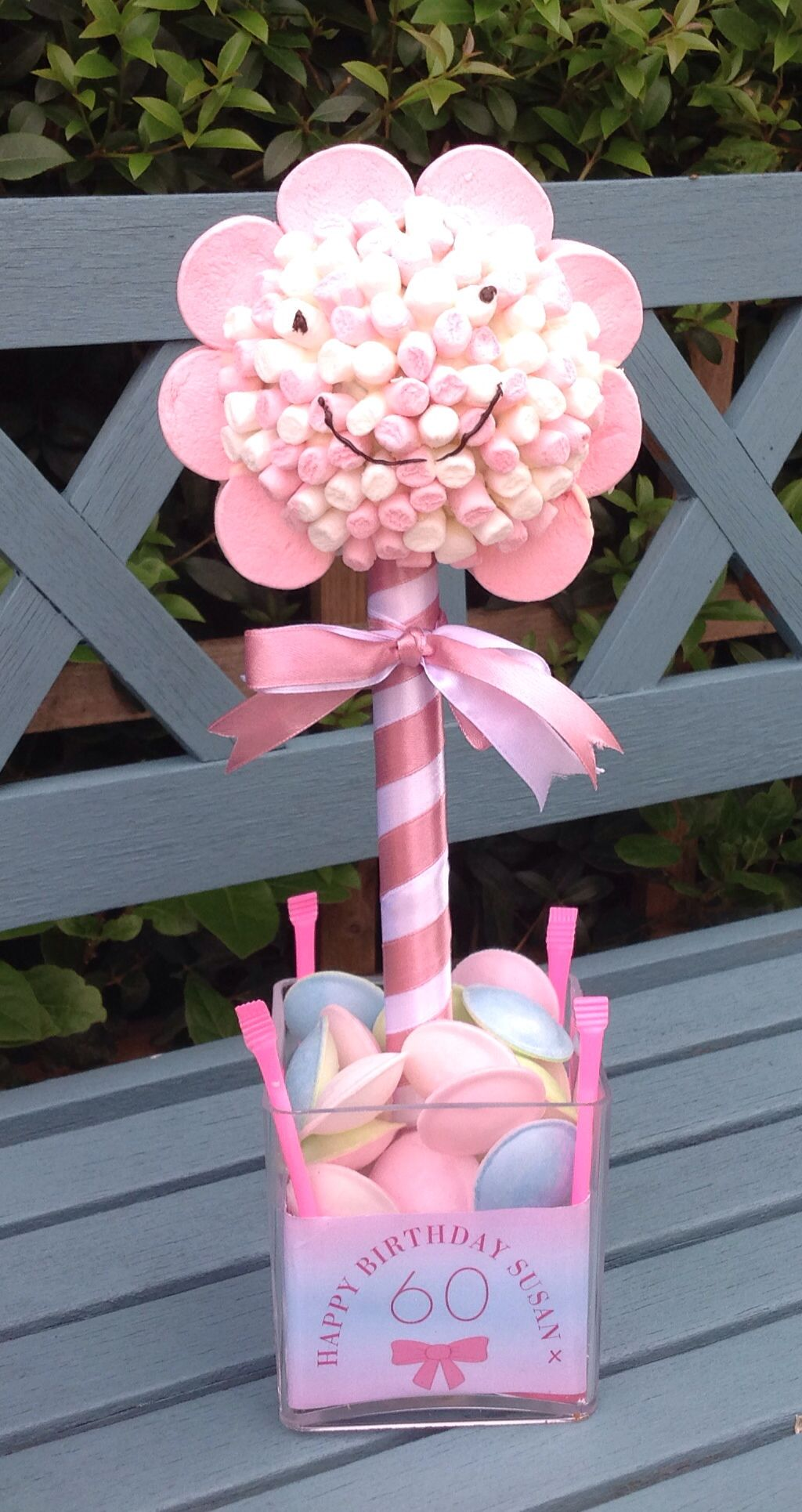 Pink Flower MarshMallow 60th Birthday Sweet Tree Base - Flying ...