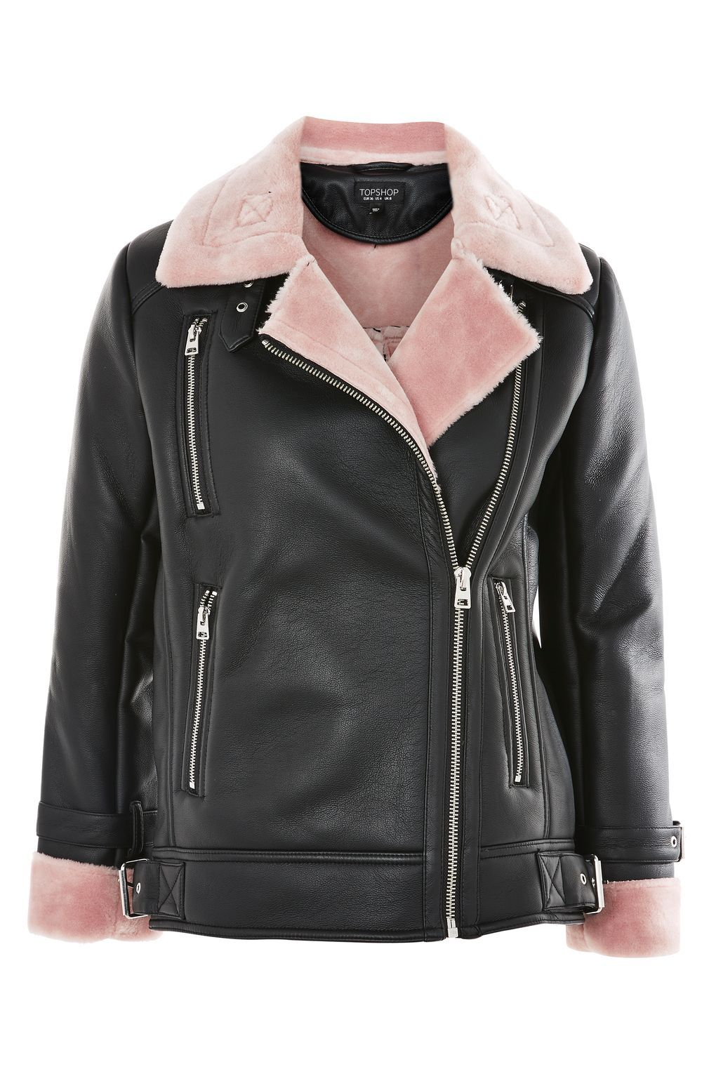Faux Shearling Biker Jacket Studded leather jacket
