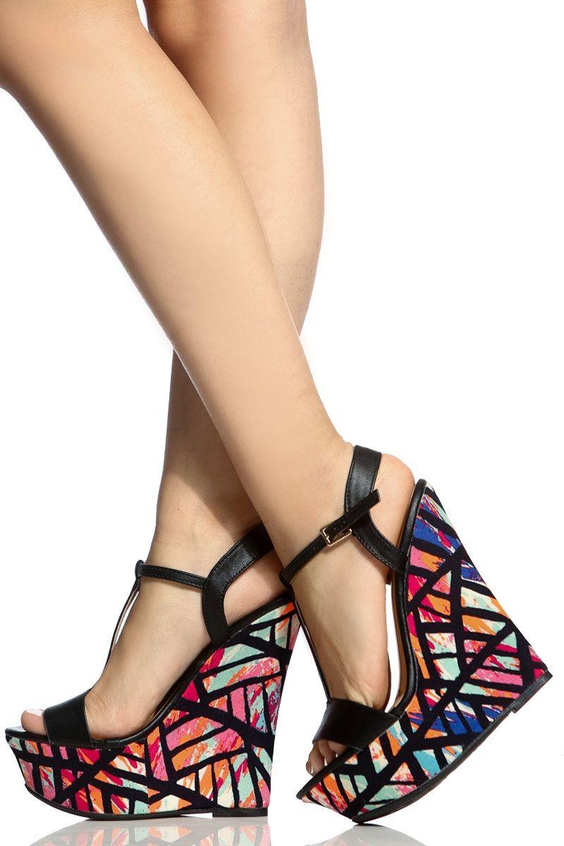 56cec5bd4eb4 Black Faux Leather Geometric Print T Strap Wedges   Cicihot Wedges Shoes  Store Wedge Shoes
