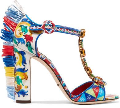 Dolce & Gabbana - Bianca Raffia-trimmed Embellished Printed Patent-leather Sandals - Red