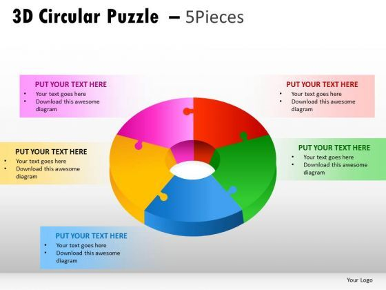 Business 3d Circular Puzzle 5 Pieces PowerPoint Slides And Ppt - 3d powerpoint template