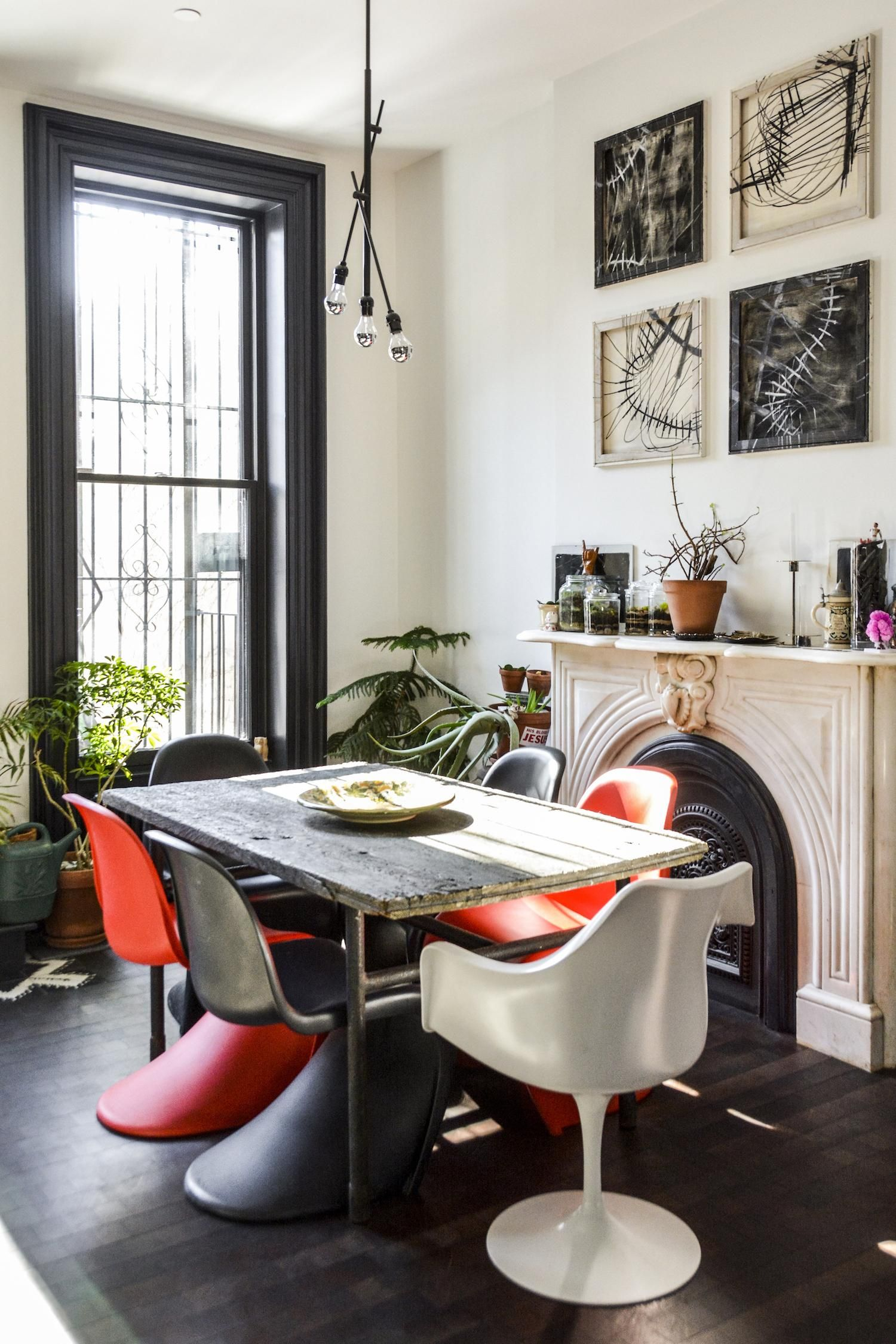 Two Young Architects Tackle Their Own Brooklyn Townhouse Old DoorsFine DiningDining Room TablesDream