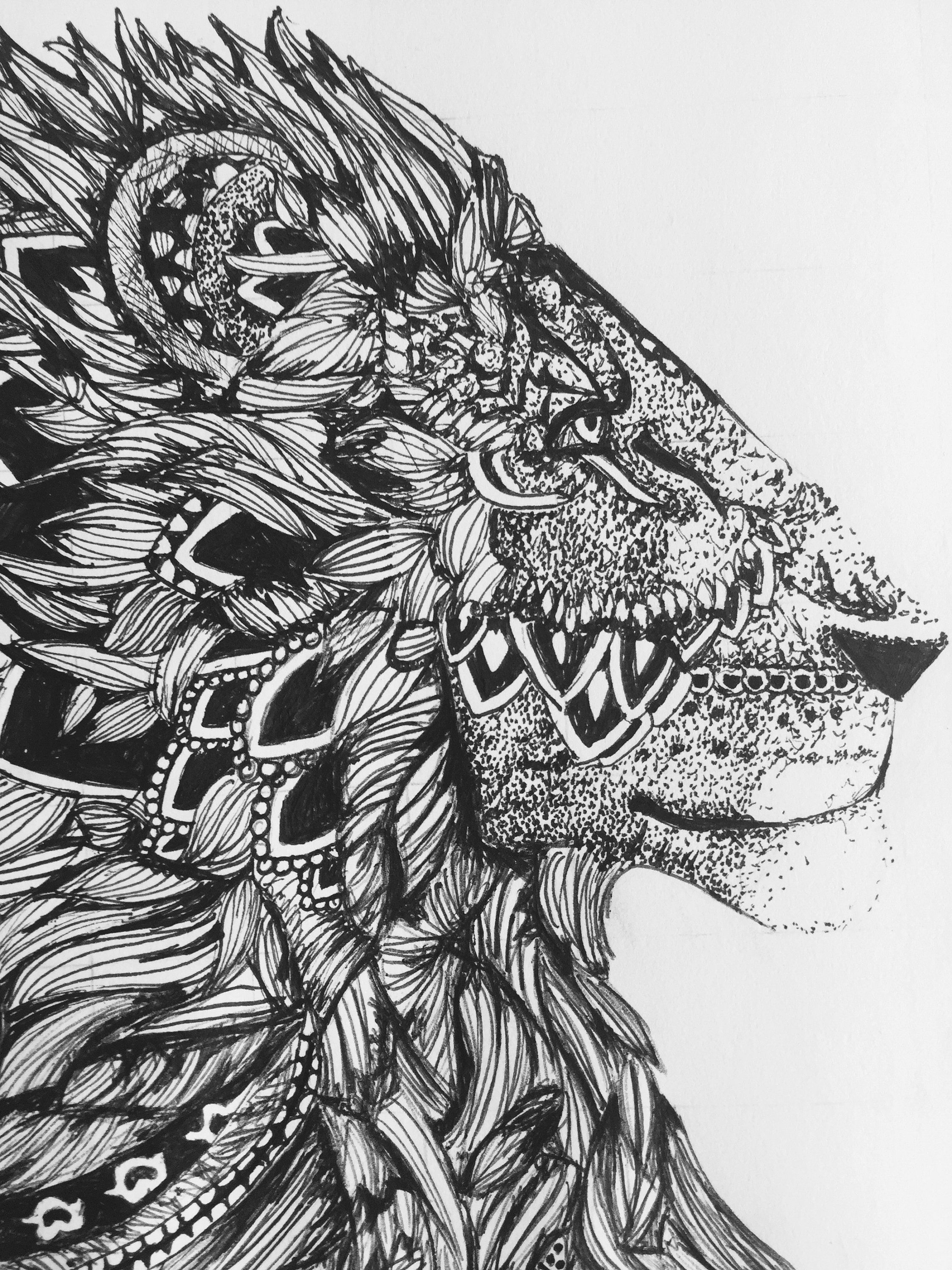 Zentangle lion black and white zentangle animal drawing
