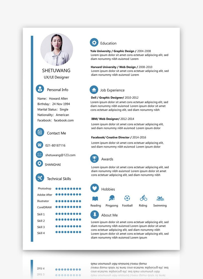english resume template เรซูเม่