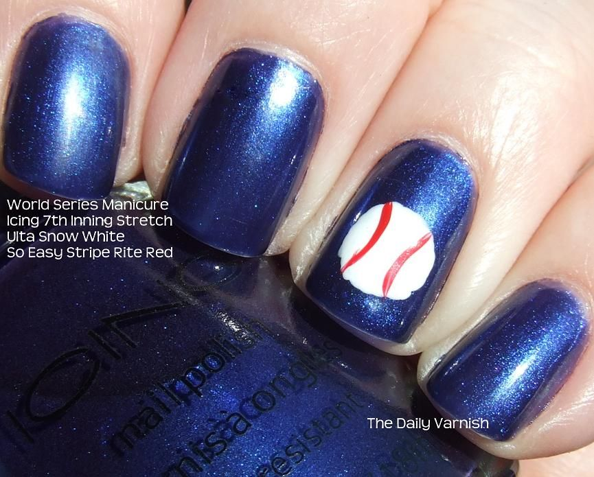 Baseball nail art! These nails would go perfectly with a Syracuse Chiefs  jersey for a - Baseball Nail Art! These Nails Would Go Perfectly With A Syracuse