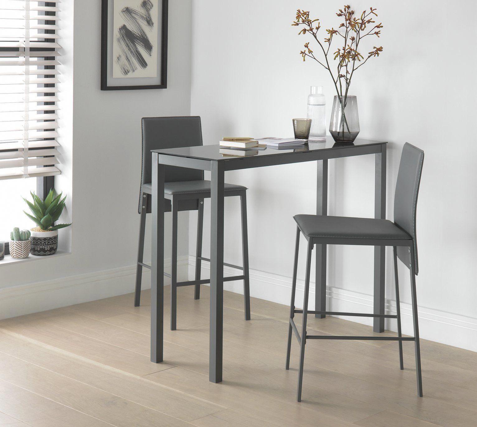 Buy Argos Home Lido Glass Bar Table & 9 Grey Chairs   Space saving ...
