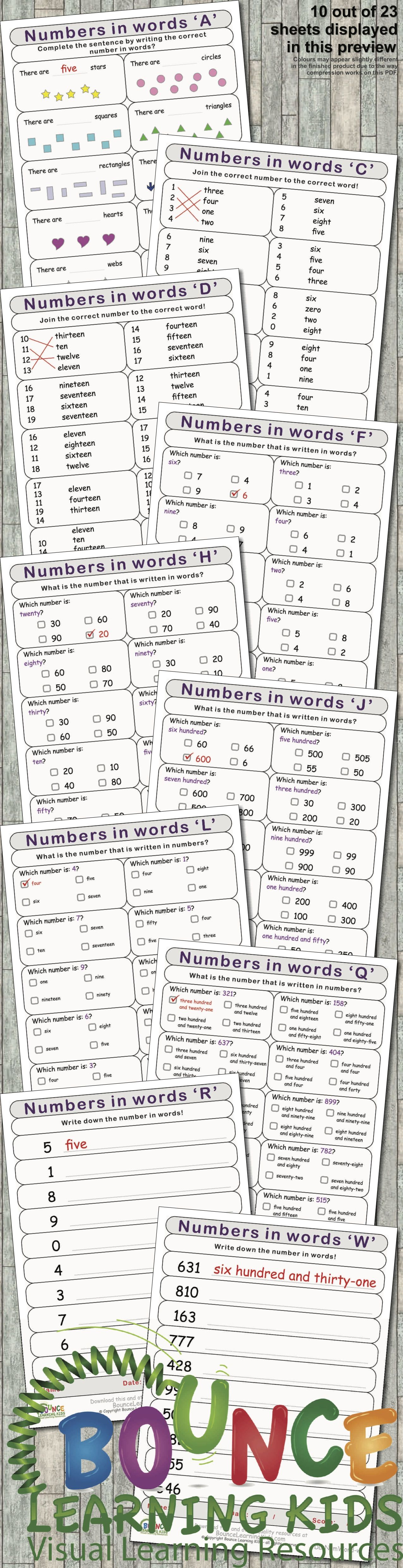 Numbers Written In Words 23 Distance Learning Literacy