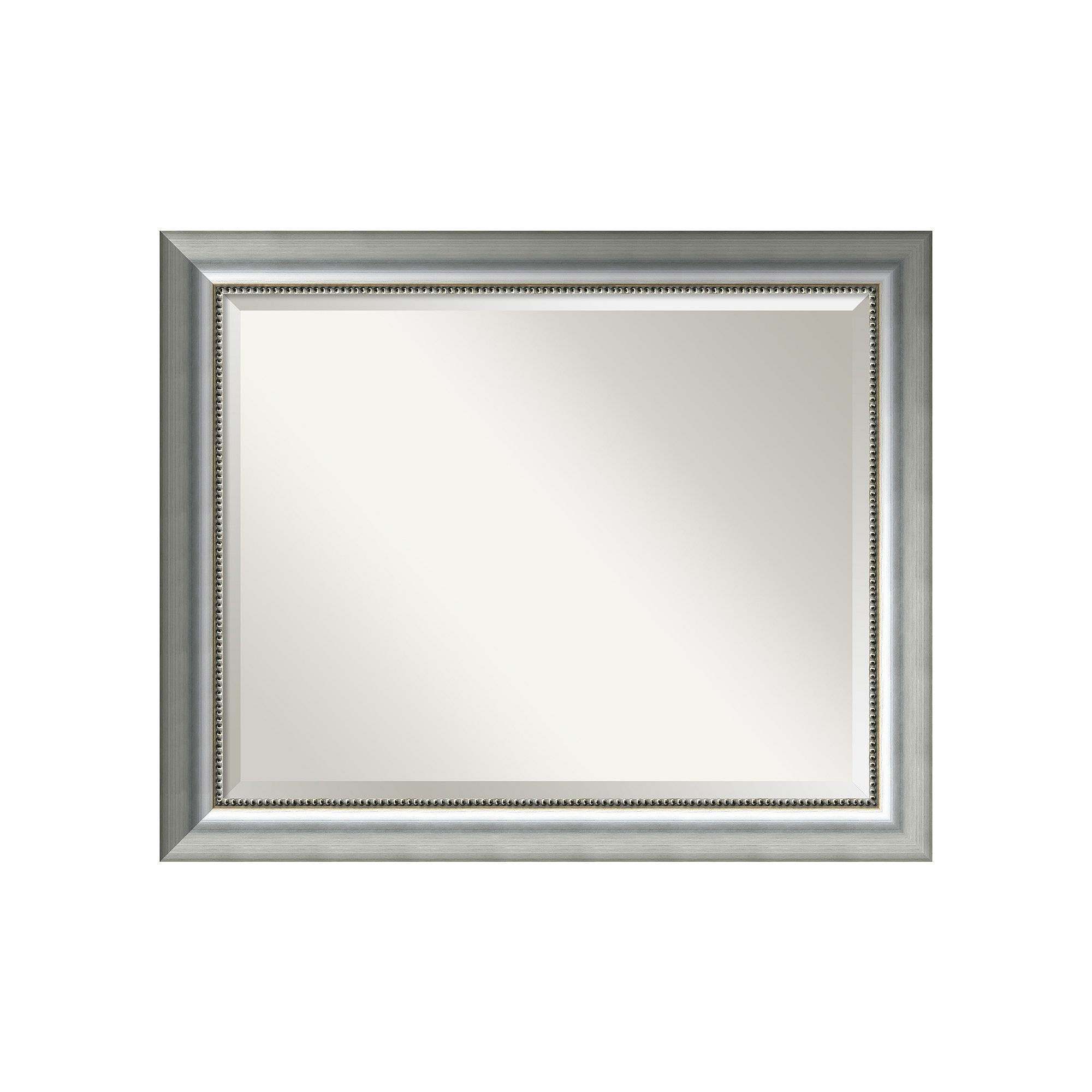 Vegas Small Burnished Silver Tone Traditional Wood Wall Mirror Silver Mirror Design Wall