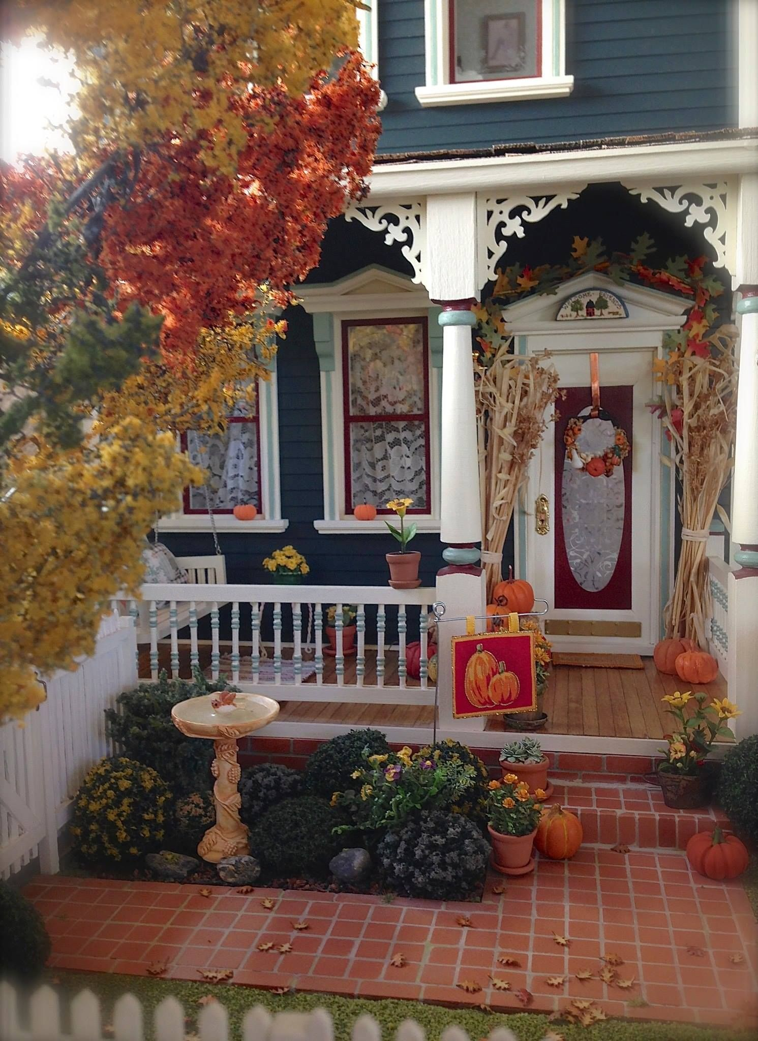 Kathleen holmes dollhouse fall front porch dollhouses Beautiful fall front porches