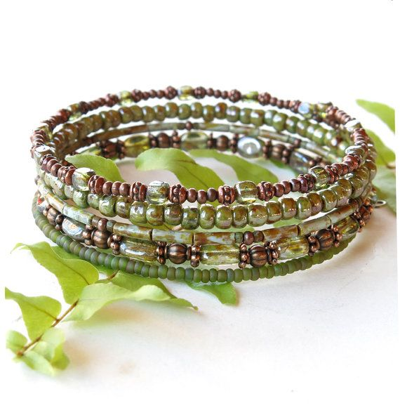 Stacked bead bracelets copper & sage green Picasso by dalystudios