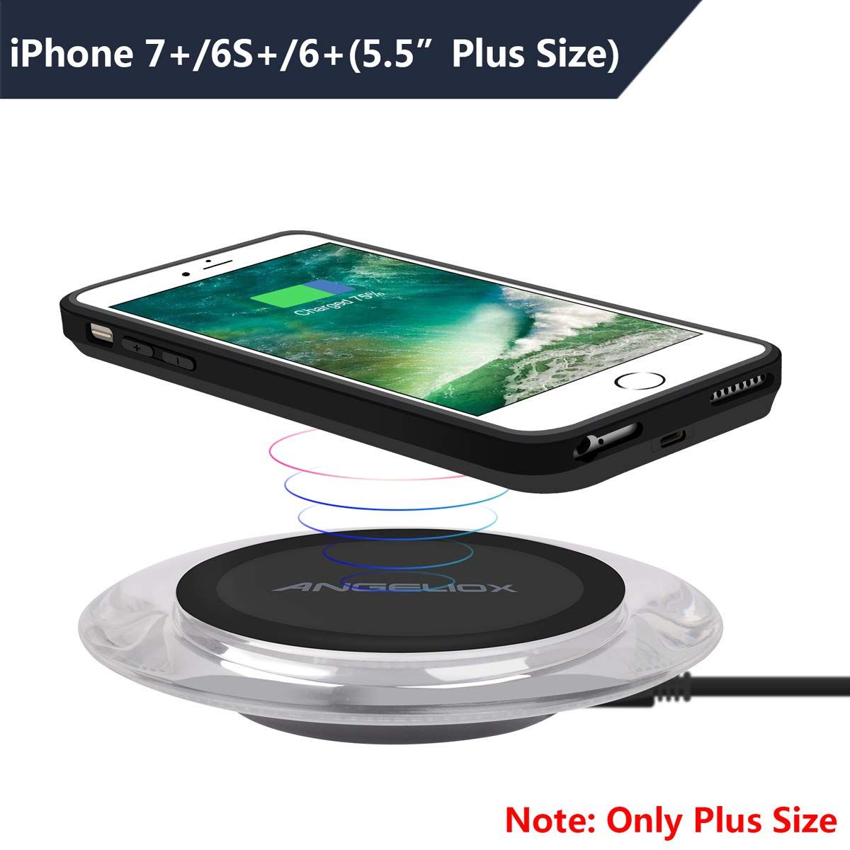 quality design 6cbe5 54fa5 ANGELIOX Wireless Charger with Qi Wireless Charging Receiver Case ...