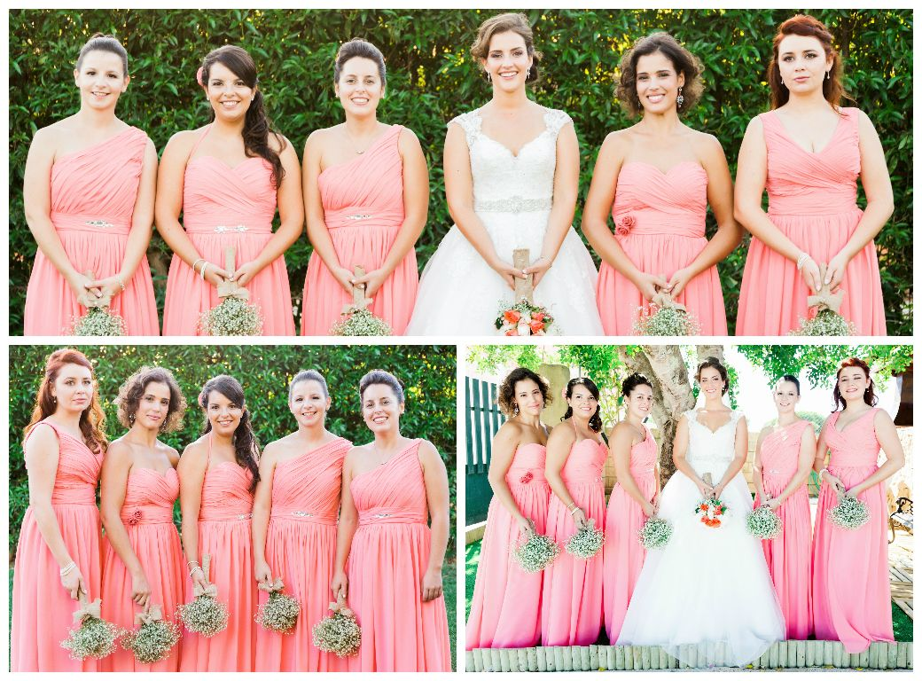 Damas de honor coral, vestidos longos, diferentes decotes, wedding ...