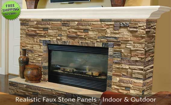 Site With Stacked Stone Veneers For Fireplace And To Wrap Exterior Column Pedestals Faux Stone Panels Fireplace Remodel Stone Panels