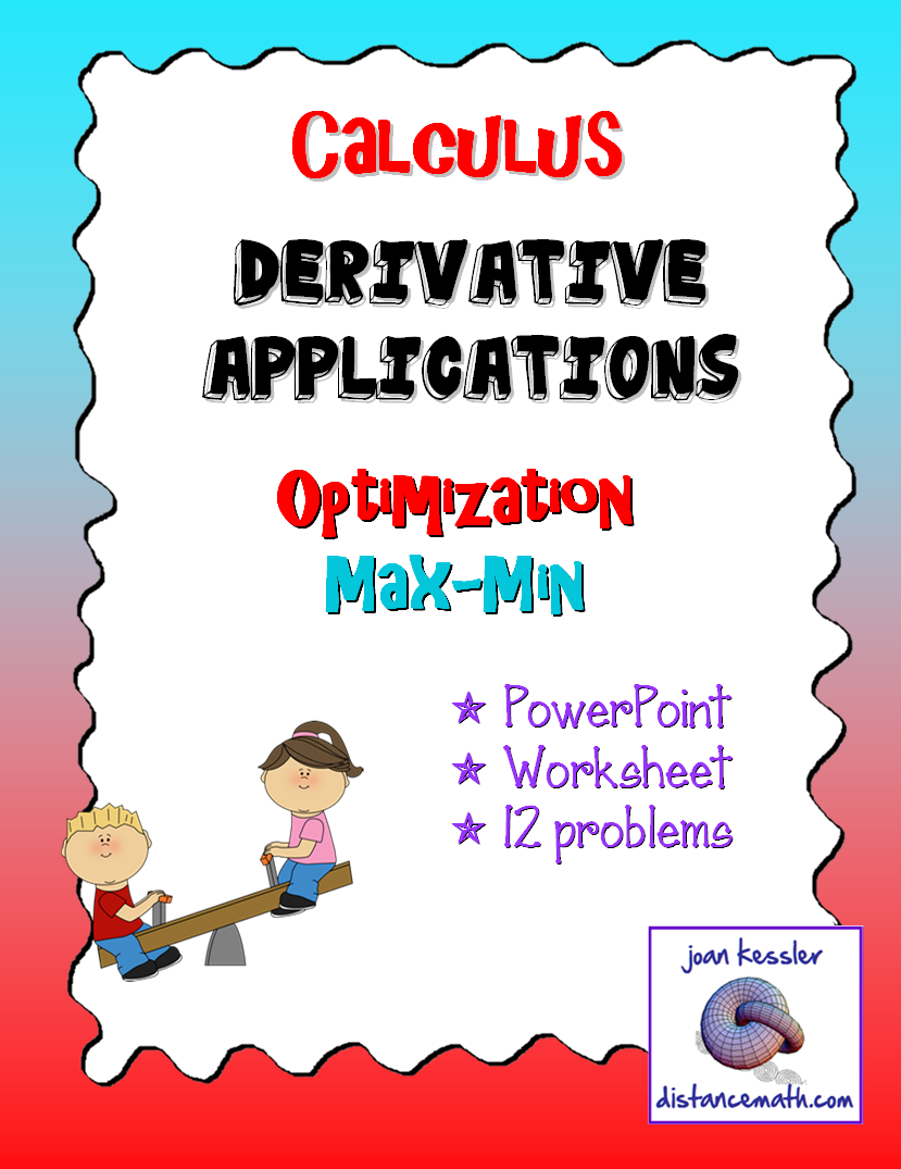 Calculus Derivatives Max Min Optimization Worksheet and Powerpoint ...