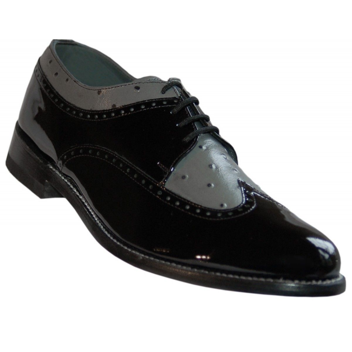 Black/Grey Patent leather Shoes