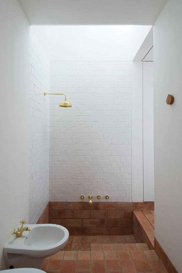 Impressive Recessed Bathtub With Terra Cotta Tiles Home
