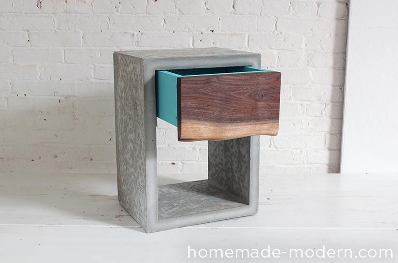 Homemade Modern Diy Concrete Walnut Nightstand Concrete Furniture Diy Concrete And Nightstands