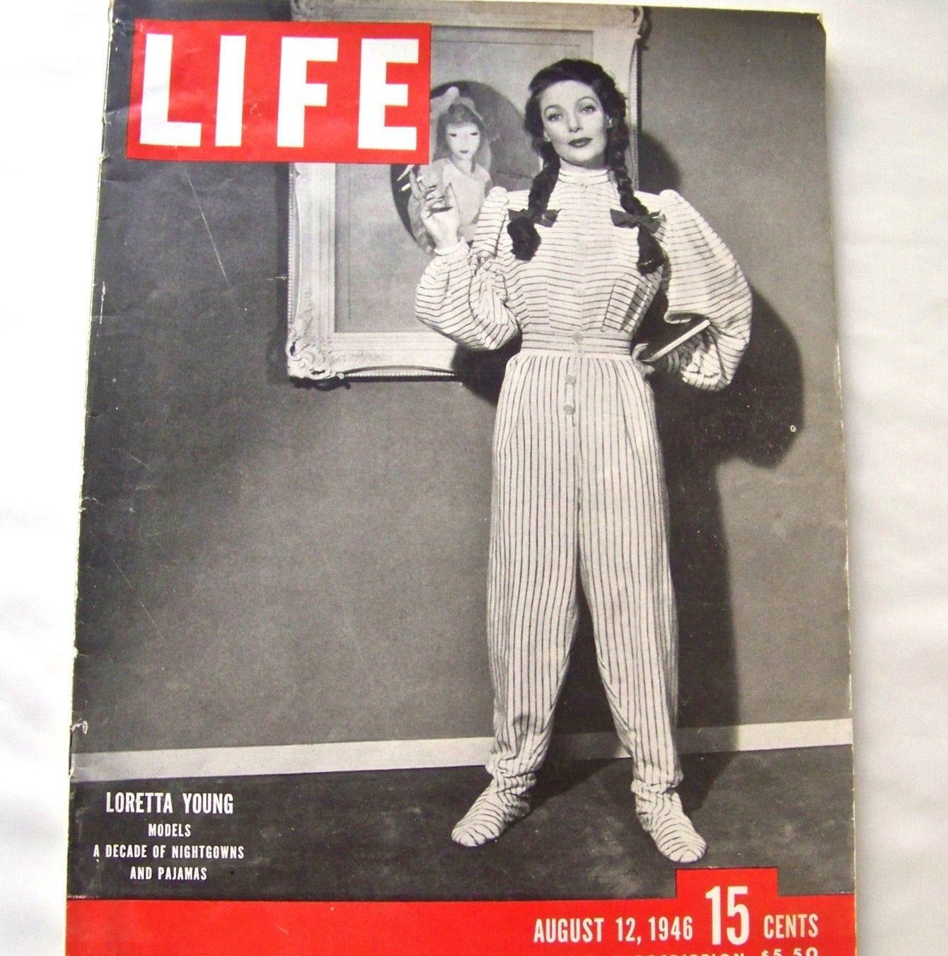 Vintage Life Magazine 1946 Loretta Young Models Nightgowns ...
