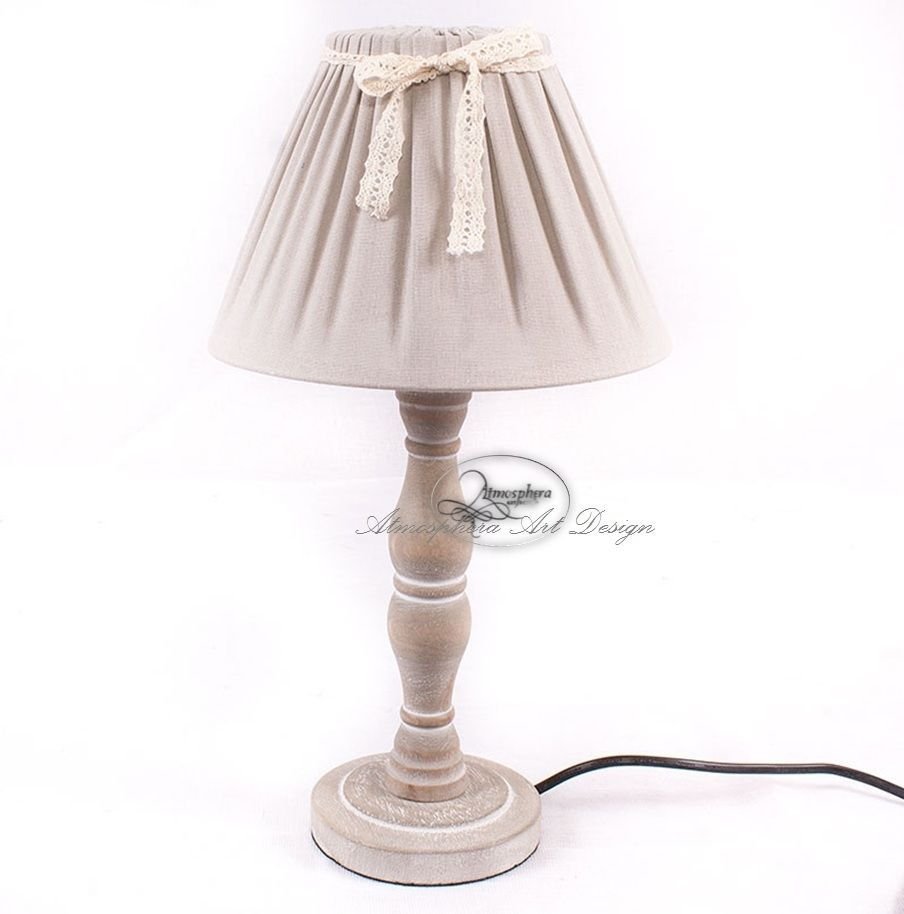 Lampada Abatjour Lume Da Tavolo Legno E Tessuto Shabby Chic 40