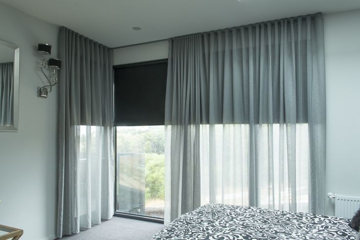 curtains with blinds. Dark Grey Roller Blinds Behind Light See-through Curtains, To Be Combined With Other Accessories // Warm Peach/pink Walls Curtains